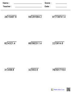 th grade math worksheets and long division problems  math is fun  decimal long division worksheets