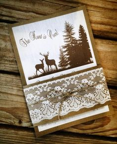 """Rustic Woodland Theme """"The Hunt Is Over"""" Wedding Invitations with Lace & Twine Details"""