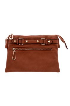 """This brown crossbody includes 3 separate sections for storing your items and credit cards. It also includes two exterior pockets. It can be worn as a wristlet and a crossbody. PVC with a solid buckle.    Approx. Measures: 9.3"""" x 6.3"""" x 1.5""""   Brown Belt Crossbody by Empire Handbags . Bags - Cross Body New York"""