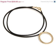 COLUMBUS DAY SALE- 14K Gold Filled leather necklace with double ring statement pendant Free Shipping 14K Gold plated statement leather neckl #handmade #Groupgos