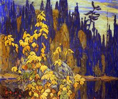 Autumn Algoma c.1920 Lawren Harris Group Of Seven Art, Group Of Seven Paintings, Emily Carr, Tom Thomson, Landscape Art, Landscape Paintings, Canadian Artists, Canadian Painters, Mid Century Art