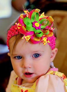 baby hair bow ribbon  flower hairbow infant by SallyAnnaSunshine, $8.99