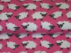 """Jersey """"Janeas MySheep"""" in white on pink de Retro-Stoff-Cafe por DaWanda.com"""