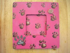 Pink Cat Picture Frame by lilaccottagecards on Etsy, $12.95