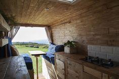 The Ranch Living Space Diy Van Conversions, Camper Van Conversion Diy, Mercedes Sprinter Camper Van, Rustic Country Homes, Camper Van Life, Van Dwelling, Metal Tub, Van Home, Campervan Interior