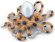 Jewelled blue ringed octopus pin