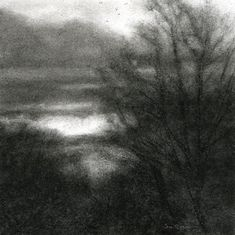 Sue Bryan's On such a day of clouds (sky road) - Charcoal and carbon on arches.