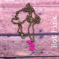 Hot Pink Michigan Necklace by michelledaleigh on Etsy https://www.etsy.com/listing/210756452/hot-pink-michigan-necklace