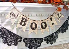Book Page BOO Banner {FREE Printable} #halloween