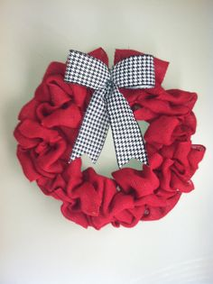 Red Burlap Wreath with Black and White Checked Bow by TheNethouse