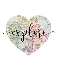 Printable - Explore Heart Vintage World Map Kid Playroom Travel Nursery Wall Art Print digital design diy instant download