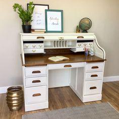 This item is unavailable : Vintage Roll Top Desk Solid Wood Desk Country Cottage Home Office Desks, Home Office Furniture, Office Decor, Bedroom Office, Office Ideas, Desk Makeover, Furniture Makeover, Diy Furniture, Desk Redo