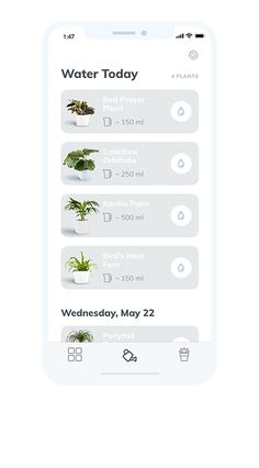 Plants Need Water - Mobile App Concept on Behance Android App Design, App Ui Design, Best Ui Design, Flat Design, Design Design, Modern Design, Ui Design Principles, Cv Web, Web Mobile