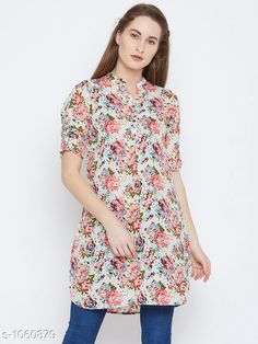 Tops & Tunics Women's Printed White Crepe Top  *Fabric* Crepe  *Sleeves* Sleeves Are Included  *Size* S- 36 in, M- 38 in, L- 40 in, XL- 42 in, XXL- 44 in  *Length* Up to 30 in  *Type* Stitched  *Description* It Has 1 Piece of Women's Tunic  *Work* Printed  *Sizes Available* S, M, L, XL, XXL *    Catalog Name: Women's Crepe Tops & Tunics CatalogID_129500 C79-SC1020 Code: 083-1060879-