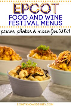 In this post from Ziggy Knows Disney, we are going to share the awesome menus for the the Food and Wine Festival. Some of these options are brand new in 2021, while others are returning favorites from past years. Read here to learn all the details for 2021! Best Disney World Restaurants, Disney World Attractions, Disney World Food, Walt Disney World Vacations, Disney World Tips And Tricks, Disney Tips, Wine Festival, Food Festival, Disney World Packages