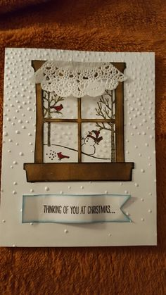 Stampin' Up!'s White Christmas stamp set and Home and Hearth Framelits dies and a doily, as well as Softly Falling TIEF used to make this lovely Christmas card, 2016.