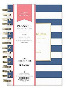 """Amazon.com : Day Designer for Blue Sky 2017-2018 Academic Year Daily & Monthly Planner, Wire-O Binding, 5"""" x 8"""", Navy Stripe : Office Products"""