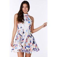 Spring Flowers Mini Dress ($35) ❤ liked on Polyvore featuring dresses, white, short dresses, halter summer dress, halter dress, short white dresses and a line summer dresses