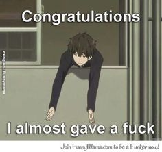 what i think of people who think of me as weird because i like anime..... 'congratulations i almost gave a fuck about your opinion'