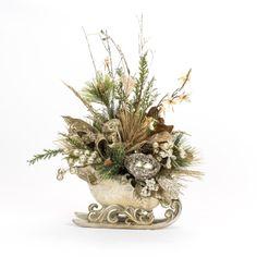 Silver Sleigh - Christmas Decor - Silk Flowers