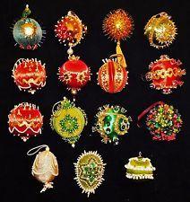 15 Assorted Beaded Beautiful Handmade Christmas Ornaments Sequin