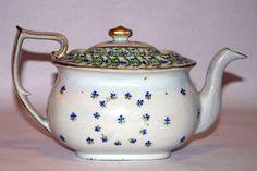 Unusual Antique Chinese Export Porcelain Teapot in Sprig or Cornflower Theme, Circa 1830's, Restoration to handle and spout, $595.