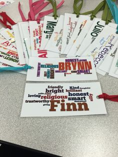 I made these cute bookmarks for my students as a goodbye gift! They were created using wordle.com and were super easy. You can customize them however you want and can use different words for each student instead of just changing the name for each.