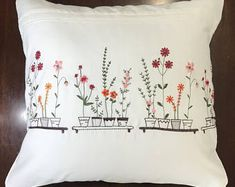 Embroidered cotton pillow cover White cushion pillowcase with red and pink flower; Cushion Embroidery, Embroidery Flowers Pattern, Hand Embroidery Designs, Embroidery Stitches, Diy Embroidered Pillow, Embroidered Pillowcases, Personalized Pillow Cases, Pillowcase Pattern, Sewing Pillows
