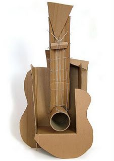 cubist guitar-- deconstructed art. WOuld love to do this with in the classroom working with shadow, texture and form.