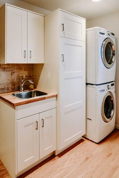 ess style cabinet (like IKEA) is being placed next to another cabinet or panel that is significantly deeper. For example, a wall cabinet next to a refrigerator panel or a pantry Ikea Laundry Room Cabinets, Laundry Design, Room Storage Diy, Ikea Laundry, Ikea Cabinets, Ikea Kitchen Cabinets, Ikea