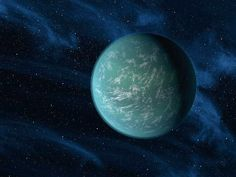 This artist rendering provided by NASA shows Kepler-22b, a planet known to comfortably circle in the habitable zone of a sun-like star. It was the first planet that NASAs Kepler mission confirmed to orbit in a region around a star where liquid water, a requirement for life on Earth, could persist.