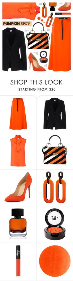 """Monochrome: Pumpkin Spice"" by anyasdesigns ❤ liked on Polyvore featuring Thierry Mugler, Armani Collezioni, Moschino, Proenza Schouler, Christian Louboutin, The Collection by Phuong Dang, Beauty Is Life, NARS Cosmetics and Illamasqua"