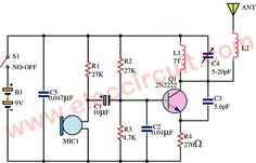 This the fm wireless transmitter circuit, the truth is one kind microphone that developed to be used without a cable from the microphone to the amplifier. Electronics Components, Diy Electronics, Electronics Projects, Dc Circuit, Circuit Diagram, Radios, Qrp, Spy Gadgets, Radio Frequency