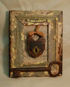 There is a lock on my heart, and you're to blame, you give love a bad name. Measuring this assemblage is made entirely of salvaged and grimy vintage finds. The lock and key are solid vintage pieces. Altered Books, Altered Art, Old Keys, Found Object Art, Junk Art, Assemblage Art, Funky Junk, Shadow Box, Oeuvre D'art