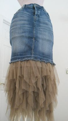 Petite Ballerine bohemian jean skirt  taupe by bohemienneivy, $95.00