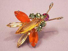 RARE HARD TO FIND Juliana Bug Insect Rhinestone Brooch Pin (Juliana jewelry designed frm 1968-1969.