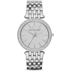 Michael Kors Darci Pave Dial Watch, 39mm (860 BRL) ❤ liked on Polyvore featuring jewelry, watches, silver, silver dial watches, polish jewelry, pave jewelry, michael kors watches and silver jewelry