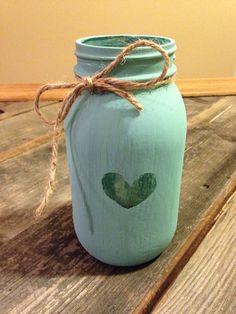 Turqoise Painted Mason Jar with Heart by AmericaReclaimedArt, $14.50