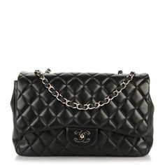 This is an authentic CHANEL Lambskin Quilted Jumbo Single Flap in Black. This is a stylish Chanel flap bag that is crafted of luxuriously soft diamond-quilted lambskin leather in black.