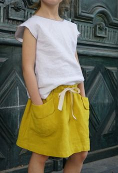 Girls Yellow Linen Skirt | Etsy