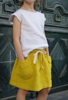 Girls Yellow Linen Skirt | Etsy