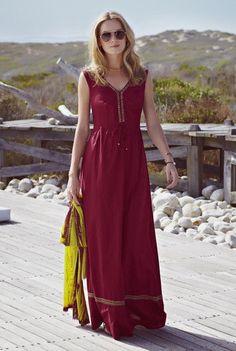 Long Tall Sally Women's Embellished Maxi Dress Size 14 Ladies Burgundy Rioja Red #LongTallSally #MaxiDress #Casual