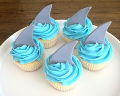 Shark Fin Cupcake Toppers  Fondant by MilkandHoneyCakery on Etsy