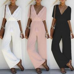 557102efd765 Casual V-neck Short Sleeve Long Jumpsuit Romper Women Vintage Slim Wide Leg  Pants Bodysuit Black White Pink Playsuit