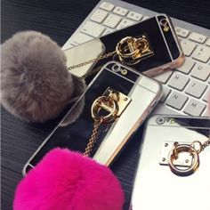 Silver Fur Ball Iphone 6+ Phone case Brand new. No scratches. Cover is made of jelly plastic. Protects the phone case and looks very cute! ✨ Available in Color Silver for Iphone 6 plus Accessories Phone Cases