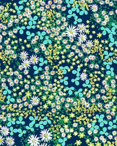 Flower Bed in Deep Sea Blues by Joy Laforme (This print is sold out.) - Floral pattern painted in digital and gouache mediums. Flower Wallpaper, Pattern Wallpaper, Iphone Wallpaper, Surface Pattern Design, Pattern Art, Flower Prints, Flower Art, Textures Patterns, Print Patterns