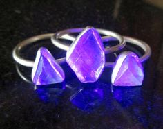 Raw Fluorite Rings Sizes 5, 6 and 7.