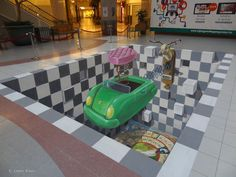 """street art by Leon Keer at Wijnegem Shopping Center Belgium. This street painting is called """"Time to Play"""", Amazing Street Art, Best Street Art, 3d Street Art, Street Art Graffiti, Awesome Art, Chalk Artist, 3d Chalk Art, 3d Street Painting, Sidewalk Chalk Art"""