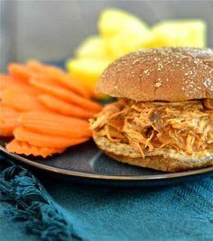 Clean Eating Hawaiian Barbecue Chicken Sandwiches (crock pot)