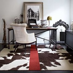 Buy Mod Cow-Brown carpet tile by FLOR. To go under our bed, minus the red stripe
